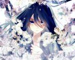 1boy blood blue_eyes blue_hair blurry bust depth_of_field flower hair_down injury kotobuki_xxx long_hair looking_at_viewer male_focus namazuo_toushirou solo touken_ranbu