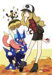 1girl baseball_cap blonde_hair boots devanohundosi greninja hat long_hair poke_ball pokemon pokemon_(creature) pokemon_(game) pokemon_xy serena_(pokemon) skirt thigh-highs vespiquen yellow_eyes