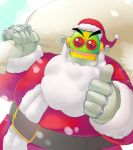 beard belt character_request facial_hair g138 hat red_eyes rockman sack santa_costume santa_hat solo thumbs_up