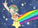 \m/ boots cuffs fang frills goggles goggles_on_head green_eyes green_hair gumi headphones rainbow sakuramori_sumomo short_hair skirt solo star vocaloid wink wrist_cuffs