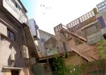 bird building exercise nature original outdoors scenery sky solo stairs steps takayasu_ikumi twintails wallpaper