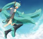 blue_eyes detached_sleeves green_hair hatsune_miku headphones jumping long_hair looking_back mitosa nail_polish skirt smile solo thigh-highs thighhighs twintails vocaloid