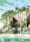 clouds no_humans original overgrown ruins sky tokyo_big_sight tokyogenso tree water waterfall