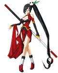 black_hair blazblue blue_bra blunt_bangs boots bra breasts china_dress chinadress chinese_clothes cleavage cleavage_cutout dress dress_lift glasses hair_ornament highres lao_jiu large_breasts lingerie lipstick litchi_faye_ling loincloth long_hair mori_toshimichi official_art panda ponytail purple_eyes side_ponytail simple_background sitting smile staff standing turtleneck underwear very_long_hair weapon yin_yang