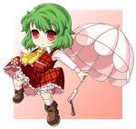boots chibi green_hair kazami_yuuka plaid plaid_skirt plaid_vest red_eyes short_hair skirt skirt_set touhou umbrella unadare unagi_tare