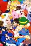 6+girls absurdres ahoge amagi_brilliant_park arm_up blonde_hair blue_hair blush brown_hair character_request chuujou_shiina closed_eyes confetti crown detached_sleeves drink glasses hair_ornament hairclip hat highres hug kanie_seiya koborii_(amaburi) latifa_fleuranza macaron_(amaburi) mask moffle multiple_girls muse_(amaburi) nyantype official_art red_eyes redhead salama_(amaburi) sento_isuzu sylphy_(amaburi) tiramii twintails