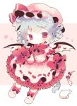 1girl animal_ears bat_wings blue_hair blush bow cat_ears cat_tail cat_teaser chibi cup dress frilled frilled_shirt frilled_skirt frilled_sleeves frills hat kemonomimi_mode kyoneko looking_at_viewer mob_cap pink_dress puffy_short_sleeves puffy_sleeves red_bow red_eyes red_ribbon remilia_scarlet ribbon ribbon_trim short_hair short_sleeves simple_background skirt skirt_hold solo tail too_many_frills touhou wings