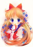 1girl aino_minako between_fingers bishoujo_senshi_sailor_moon blonde_hair blue_eyes bow colored_eyelashes crescent_moon ear_studs earrings facial_mark flower forehead_mark gloves hair_bow highres izumi_k_rukawa jewelry long_hair mask moon red_bow sailor_v sleeveless solo white_background white_gloves