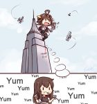 2girls ahoge airplane akagi_(kantai_collection) black_legwear black_skirt blush_stickers brown_hair building chibi closed_mouth clouds cloudy_sky double_bun eating empire_state_building hairband highres japanese_clothes kantai_collection kongou_(kantai_collection) langbazi long_hair miko multiple_girls muneate nontraditional_miko open_mouth pleated_skirt short_sleeves skirt sky solid_oval_eyes thigh-highs tower