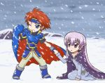 1boy 1girl armor armored_dress belly_chain blue_dress blue_eyes blue_gloves boots cape cloak dress fingerless_gloves fire_emblem fire_emblem:_fuuin_no_tsurugi gloves headband holding_cape holding_hands kneeling long_hair looking_at_another looking_away one_eye_closed open_mouth pants purple_hair redhead reverse_(bluefencer) roy_(fire_emblem) snow snowing sofiya very_long_hair violet_eyes