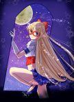 1girl aino_minako bare_legs bishoujo_senshi_sailor_moon blonde_hair blue_eyes blue_shoes blue_skirt bow elbow_gloves facial_mark forehead_mark gloves hair_bow half_updo kago-s light_smile long_hair looking_at_viewer mask moon moonlight night pleated_skirt sailor_v skirt solo star very_long_hair white_gloves window