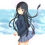 1girl akiyama_mio black_eyes black_hair k-on! long_hair ns.x school_uniform standing