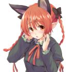 1girl animal_ears blush bow braid bust cat_ears extra_ears fang hair_bow kaenbyou_rin lefthand long_hair looking_at_viewer open_mouth pointy_ears red_eyes red_nails redhead simple_background solo touhou twin_braids white_background