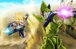 2boys aura battle blonde_hair blood blue_eyes bodysuit cell_(dragon_ball) dragon_ball dragon_ball_z energy_ball eyebrows flying gloves incoming_attack male_focus multiple_boys muscle perfect_cell spiky_hair super_saiyan thick_eyebrows thomas_bramall torn_clothes vegeta white_gloves