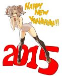 1girl 2015 ;) animal_ears bell bell_collar boots collar earrings flat_chest full_body hands_on_own_face happy_new_year highres horns jewelry leotard new_year okada_(hoooojicha) one_eye_closed platform_footwear platform_heels red_eyes sheep_ears sheep_horns short_hair silver_hair smile solo tail thigh-highs thigh_boots