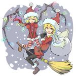 2girls black_legwear blonde_hair broom broom_riding flandre_scarlet hat highres kirisame_marisa long_hair multiple_girls red_eyes revision santa_costume santa_hat scarf smile snowing striped striped_legwear touhou wings yuugiri