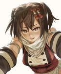 1girl backlighting brown_eyes brown_hair bust elbow_gloves gloves hair_ornament kantai_collection katahira_(hiyama) looking_at_viewer open_mouth reaching scarf seductive_smile sendai_(kantai_collection) short_hair short_twintails simple_background small_breasts smile solo twintails white_background