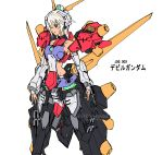 1girl arm_warmers armor bare_shoulders breasts character_name collarbone deviantart devil_gundam g_gundam green_eyes gundam hair_over_one_eye halterneck headset leg_armor leotard mecha_musume personification short_hair side_cutout sideboob simple_background smile solo thigh-highs translated watermark web_address white_background white_hair widyo_adiputra