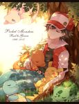 1boy baseball_cap belt black_hair bulbasaur charmander closed_eyes copyright_name dated denim grass hat jacket kabocha_torute male_focus mew pikachu pokemon pokemon_(creature) pokemon_(game) pokemon_rgby red_(pokemon) red_(pokemon)_(classic) short_hair signature sitting sleeping squirtle under_tree