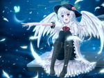 1girl alternate_color angel_wings aru_gunsou black_legwear boots bow butterfly cross-laced_footwear feathers food fruit glowing_butterfly hat hinanawi_tenshi long_hair m.u.g.e.n open_mouth outstretched_arm pantyhose peach pink_eyes puffy_short_sleeves puffy_sleeves shirt short_sleeves silver_hair skirt smile solo thighband_pantyhose touhou wings