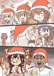 admiral_(kantai_collection) akagi_(kantai_collection) akatsuki_(kantai_collection) brown_hair chicken_leg comic eating folded_ponytail fried_chicken hair_ornament hat hibiki_(kantai_collection) ikazuchi_(kantai_collection) inazuma_(kantai_collection) kantai_collection long_hair machimote_taikou multiple_girls northern_ocean_hime open_mouth ryuujou_(kantai_collection) santa_hat school_uniform seaport_hime serafuku short_hair translation_request