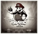 1boy artist_request bomb facial_hair gloves hat mario monochrome mustache nintendo oldschool plumber retro smile solo super_mario_bros. tagme title_card