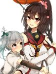 2girls arm_warmers bangs bare_shoulders blunt_bangs blush bow brown_hair bust collarbone detached_sleeves flower furumachi_kyuu hair_bow hair_flower hair_ornament headgear high_ponytail highres hug kantai_collection kasumi_(kantai_collection) looking_at_another multiple_girls oriental_umbrella sailor_collar side_ponytail silver_hair simple_background suspenders umbrella white_background yamato_(kantai_collection)