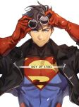1boy artist_request black_hair blue_eyes dc_comics gloves holding holding_sunglasses jacket smile solo sunglasses superboy