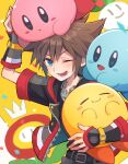 1boy blue_eyes blush brown_hair closed_eyes fingerless_gloves flower gloves highres hug jewelry kingdom_hearts kingdom_hearts_iii kirby kirby_(series) looking_at_viewer m1stm1 male_focus necklace one_eye_closed open_mouth short_hair simple_background smile sora_(kingdom_hearts) spiky_hair super_mario_bros. super_smash_bros.