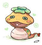 fangs forked_tongue heart mizuhara_aki no_humans open_mouth snake solo tongue tsuchinoko_(youkai_watch) white_background youkai_watch