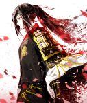 1boy japanese_clothes lowlight_kirilenko petals ponytail simple_background solo tarou_tachi touken_ranbu white_background