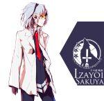 1girl character_name glasses izayoi_sakuya lowlight_kirilenko necktie simple_background solo touhou white_background