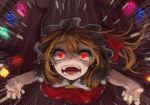 1girl berabou blonde_hair bow crystal fangs flandre_scarlet from_above glowing glowing_eyes hat hat_bow looking_up mob_cap open_mouth outstretched_arms ponytail puffy_sleeves red_eyes shirt short_sleeves shouting side_ponytail skirt skirt_set solo tears touhou vest wings