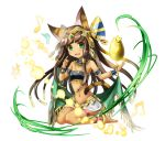 animal_ears anklet bandeau barefoot bastet_(p&d) black_hair bracer cat_ears dark_skin egyptian fang green_eyes highres jewelry long_hair midriff navel puzzle_&_dragons sitting skirt smile tail tiara