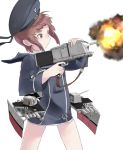 1girl brown_eyes brown_hair firing fujibejifu hat kantai_collection sailor_collar sailor_hat short_hair simple_background solo white_background z3_max_schultz_(kantai_collection)