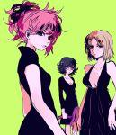3girls black_hair blonde_hair hunter_x_hunter machi_(hunter_x_hunter) multiple_girls pakunoda pau pink_hair shizuku_(hunter_x_hunter) short_hair tied_hair