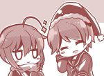 2girls ahoge bloom2425 chibi christmas closed_eyes gloves hair_flaps happy hat kantai_collection mogami_(kantai_collection) multiple_girls neckerchief santa_hat scarf school_uniform serafuku shigure_(kantai_collection) smile sparkle