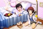 2girls :d absurdres aldnoah.zero artist_request bangs bed bedroom black_hair boots_removed bracelet breasts brown_hair cleavage coffee coffee_mug collarbone company_name food glasses highres hood_down hoodie indoors jewelry kneehighs lamp long_sleeves looking_at_viewer lying multiple_girls on_bed on_floor on_stomach open_mouth over-kneehighs picture_(object) pillow rug short_hair shorts sitting slippers smile source_request spoon striped striped_legwear swept_bangs thigh-highs tray violet_eyes wariza watermark white_legwear wooden_floor