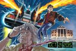 2boys back_to_the_future blue_eyes brown_hair building commentary_request dated delorean denim electricity emmett_brown fire grey_hair highres hover_board jacket jeans looking_at_viewer marty_mcfly mujun_kamen multiple_boys pants school