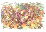 1girl blonde_hair breasts cobra_(animal) flower hair_ornament headdress kali_(p&d) long_hair mole mole_under_mouth multiple_arms puzzle_&_dragons snake solo thigh-highs
