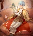 1boy blue_hair feathers flower glass gloves ichigo_hitofuri indoors looking_at_viewer male_focus mizuhara_aki orange_eyes peacock_feathers petals pillow short_hair sitting solo tassel touken_ranbu white_gloves