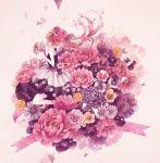 1girl bouquet brown_eyes brown_hair crown dress flower halterneck head_wreath holding holding_flower layered_dress long_hair mokaffe original ribbon solo twintails very_long_hair