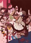 bow braid brown_eyes brown_hair brown_shoes chocolate dog dress hair_ribbon hand_on_own_thigh hand_to_own_mouth looking_at_viewer mokaffe nail_polish original ribbon sash single_braid sitting striped striped_dress thigh-highs