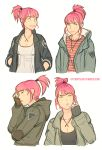 1girl alternate_hair_length alternate_hairstyle annie_mei annie_mei_project breasts caleb_thomas cleavage collage fashion green_eyes hands_in_pockets highres jacket jewelry lips necklace pendant pink_hair short_ponytail smile solo