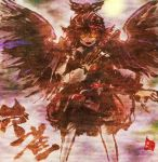 1girl bird_wings fang fingernails hat_feather long_nails mystia_lorelei pink_eyes pink_hair red_nails sharp_fingernails solo touhou traditional_media umarutsufuri