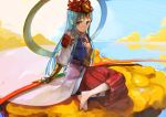 1girl amaterasu_(p&d) blue_eyes blue_hair hagoromo hakama headpiece japanese_clothes long_hair muneate nuda puzzle_&_dragons shawl sitting solo