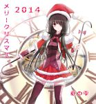 breasts date_a_live hat kurenai_no_shizuku long_hair looking_at_viewer red_eyes santa_costume santa_hat thigh-highs tokisaki_kurumi twintails very_long_hair