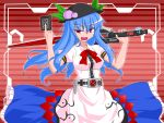 1girl belt blue_hair crossover hinanawi_tenshi kamen_rider_den-o_(series) parody red_eyes sword touhou weapon