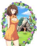 1boy 1girl :d arms_up bare_shoulders blush boots breasts cave cleavage cleavage_cutout closed_eyes clouds couple diane_(nanatsu_no_taizai) dress fingerless_gloves floating flower giantess gloves grass highres holding_hands hood jacket king_(nanatsu_no_taizai) large_breasts leotard naginoya nanatsu_no_taizai open_mouth pillow projected_inset puffy_sleeves single_glove sky smile vines younger