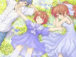 clannad closed_eyes dress furukawa_nagisa husband_and_wife lying okazaki_tomoya okazaki_ushio ponytail sailor_dress satou_takeshi smile sundress t-file